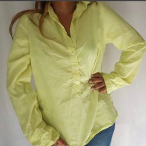 J.crew size S yellow green factory plaited popover